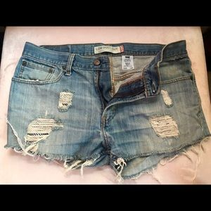 Levi's Low Boot Cut Distressed Shorts